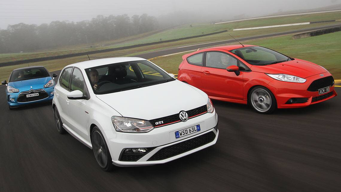 2015 vw polo gti citroen ds3 and ford fiesta st review cheap hot hatch comparison carsguide. Black Bedroom Furniture Sets. Home Design Ideas